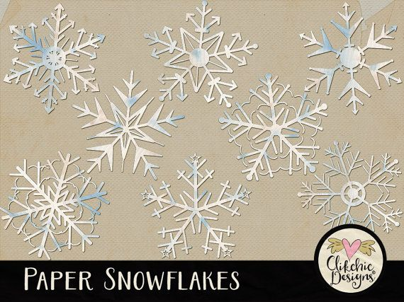 Paper Snowflakes Digital Scrapbook ClipArt  Snow by ClikchicDesign