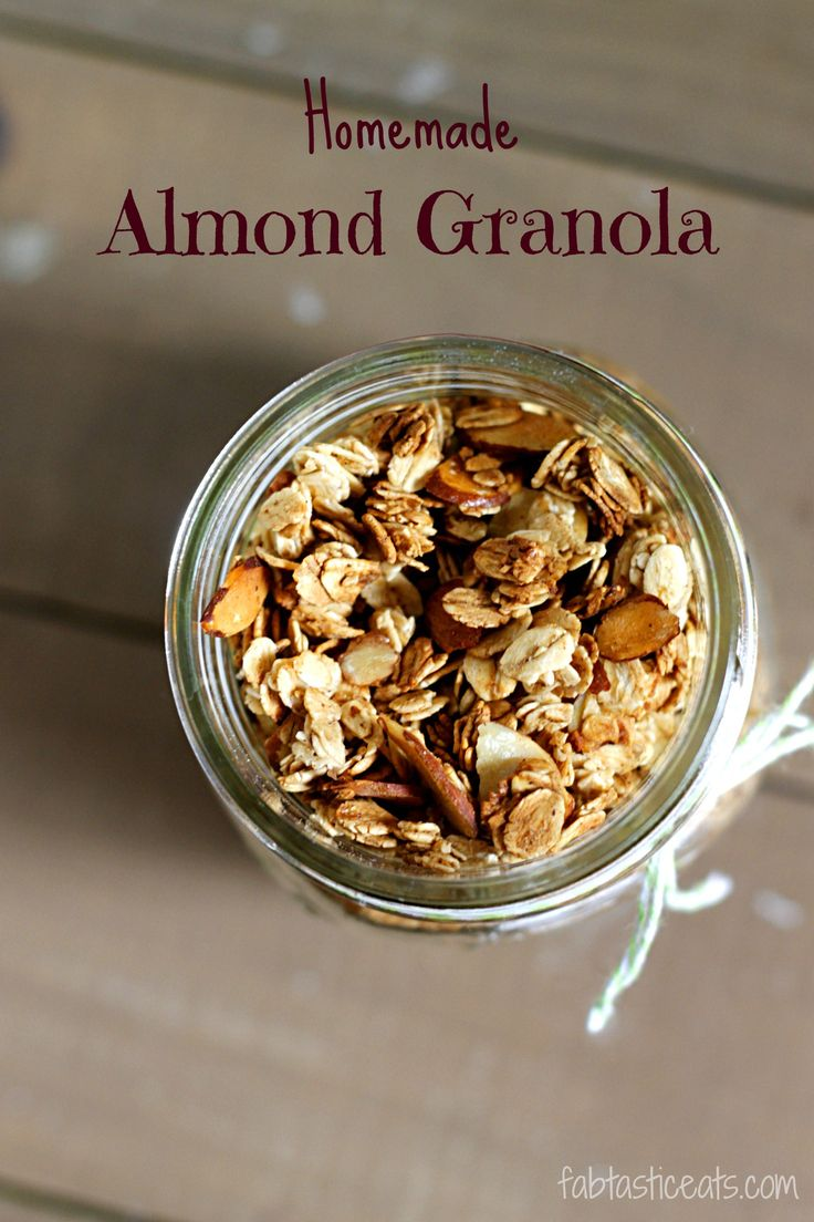 Homemade Almond Granola So good! With no extra stuff! I followed this recipe replacing almond extract with vanilla extract, replacing maple syrup with agave, and added some ground flax seeds! Yum!