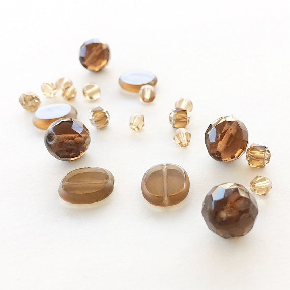 Smoky Topaz Czech Glass Beads Czech Glass Beads by SCTreasureTrove