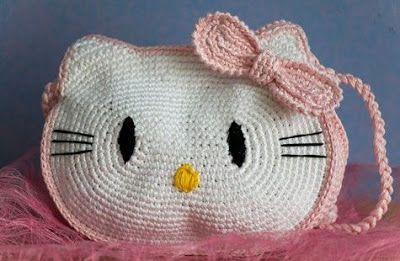 LE GATTE COI TACCHI: Schema borsa Hello Kitty all'uncinetto