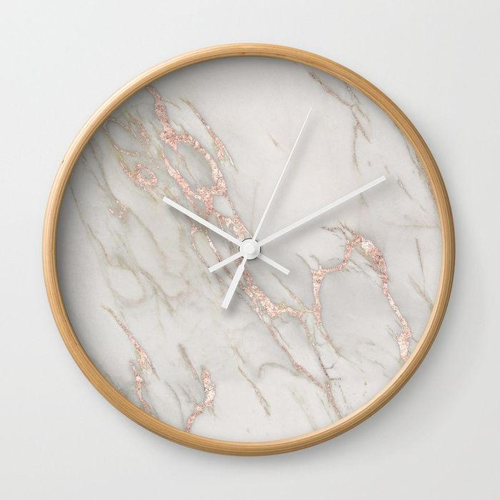Buy Marble Rose Gold Blush Pink Metallic By Nature Magick Wall Clock By Naturemagick Love The Gold Sparkle Ad Walldecor Gold Wall Clock Wall Clock Clock