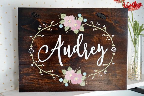 Custom Name Sign Nursery Wall Art Hand painted by DistressedLuv