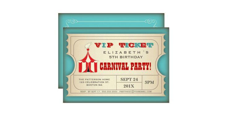 Ein guter altmodischer Zirkuskarneval mit dem Vintagen Anreden, dieser Spaßentwurf in Form einer VIP-Aufnahmekarte, Eigenschaften ein niedlicher Elefant auf dem Zirkuszelt der großen Spitze, in einem trendy Rot- und Türkisfarbentwurf und enthält das ganzes Ereignisinfo in einem einfachen, Format besonders anzufertigen. Eine große Weise, die Aufregung Ihrer Gäste aufzubauen, da sie den Karneval oder themenorientierte die Geburtstagsfeier des Zirkusses vorwegnehmen, die für Ihren Sohn oder…