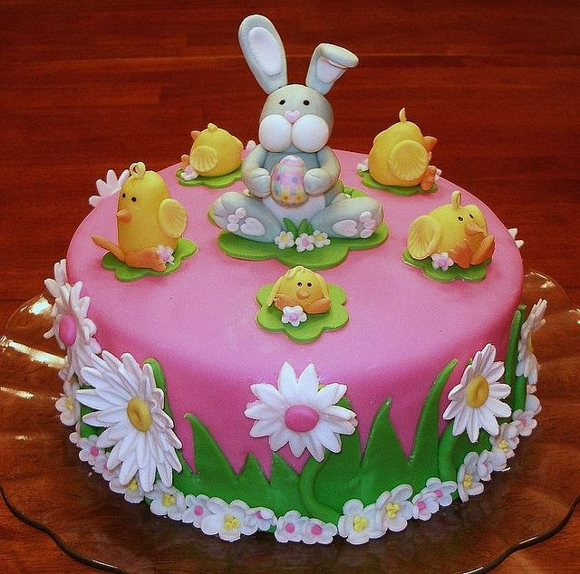 "Easter Bunny and Chicks Cake~ Easter Bunny and Chicks Cake ~ 9"" 4 layer German Chocolate cake. Covered with fondant and decorated with all hand-made Easter decorations. Photo only for inspiration."