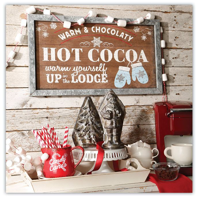 Here's a cute setup from our Peppermint Kitchen collection. Hot cocoa in a warm lodge is perfect for the holiday season.  By RAZ Imports.