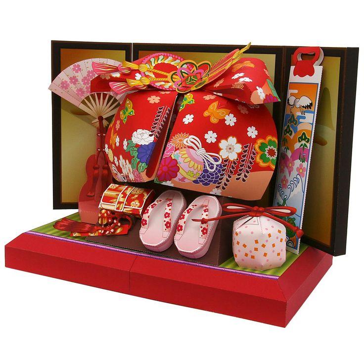 結び帯飾り,おもちゃ,ペーパークラフト,扇子,縁起物,帯,着物,女の子,草履