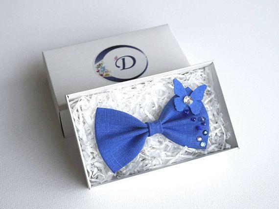 Blue Linen Bow Hairband Blue Hair Bow Hair Bows For Girls