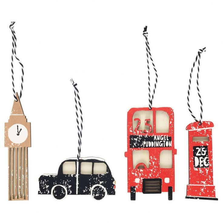 London scene wooden decorations - pack of 4