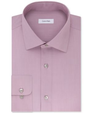 Calvin Klein Steel Men's Classic-Fit Non-Iron Performance Solid Dress Shirt - Pink 17.5 36/37