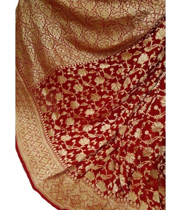 Red Handloom Banarasi Khaddi Chiffon Georgette Saree