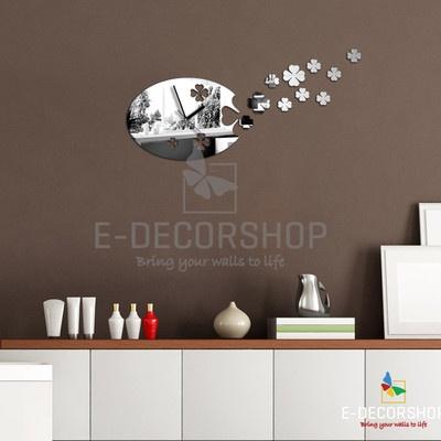 Neu Spiegel Moderne Wanduhr Design Wandtattoo Dekoration Uhren   EBay