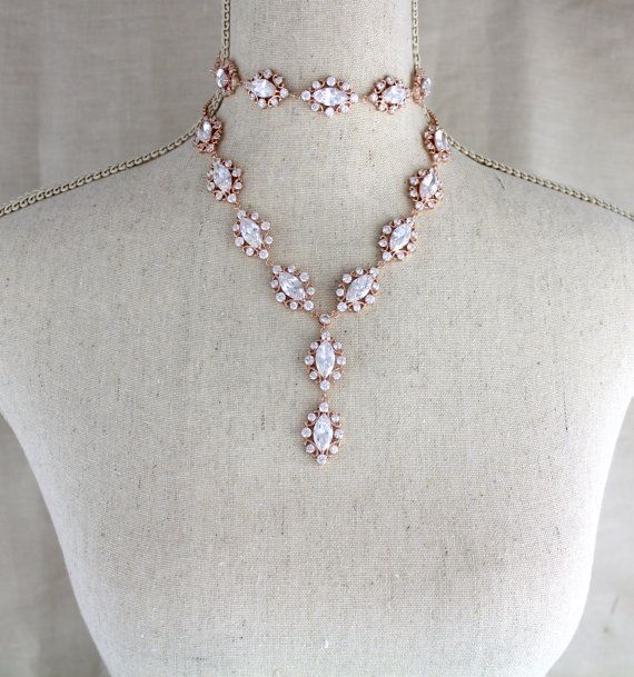 Rose gold layered necklace Bridal necklace Crystal by treasures570