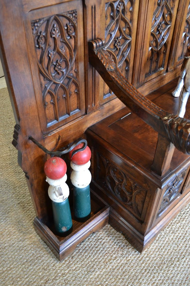 Arts and crafts hall tree - Antique Country French Carved Walnut Arts Amp Crafts Hall Tree C1890 Bench And Hall Stand