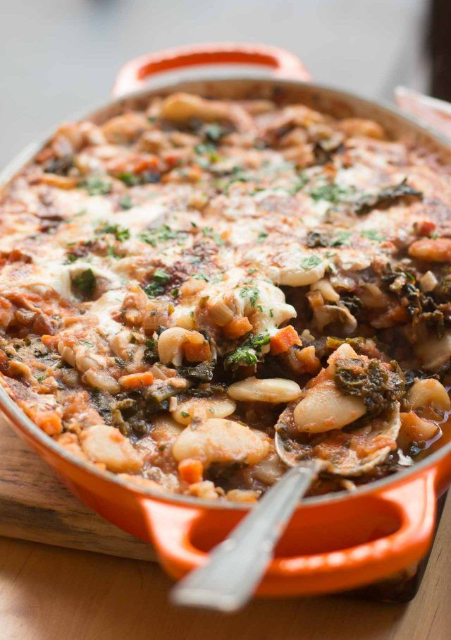 "Giant Bean Gratin (or ""Pizza Beans"" Would definitely add some crumbled, browned sausage, some diced chilies, and perhaps a handful or so of fresh sage, oregano or basil leaves to the mix (ala David Lebovitz!)"
