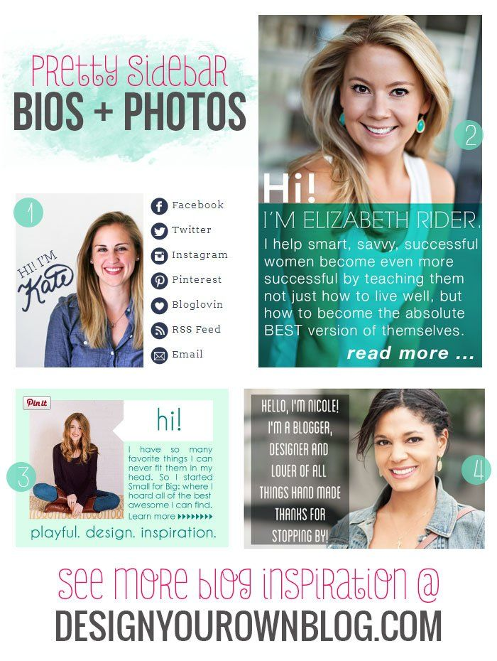 Blog Sidebar Author Bios And Profile Photos   A Showcase Of Pretty Ones On  DesignYourOwnBlog.