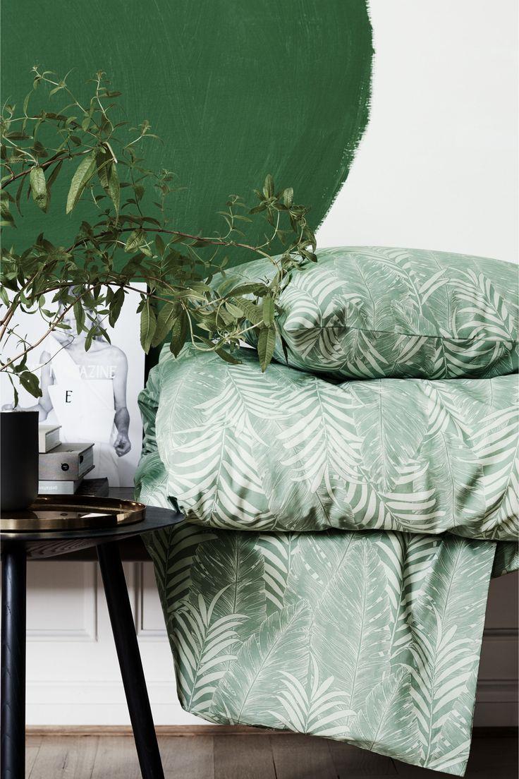 Funda nórdica motivo de hojas - Verde apagado - HOME | H&M ES