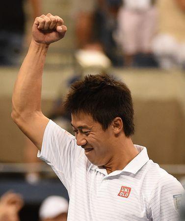 男子シングルス準々決勝でワウリンカを破り4強入りを決めた錦織圭=3日、ニューヨーク(AFP=時事) ▼4Sep2014時事通信|「準決勝が楽しみ」=錦織との一問一答-全米テニス http://www.jiji.com/jc/zc?k=201409/2014090400414