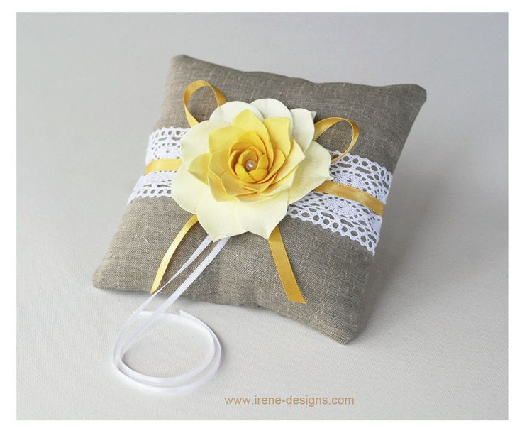Rustic Ring Pillow Linen Handmade Wedding Ring by IrenDesigns.  via Etsy.