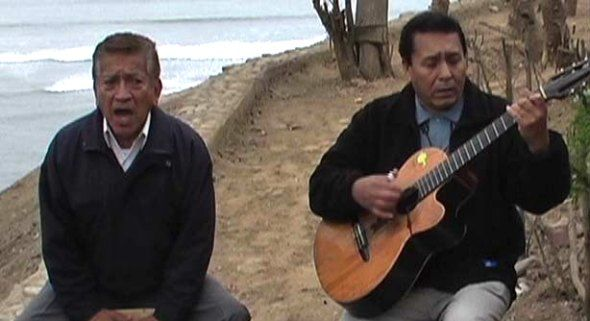 T.   Crazy Horse is a popular music group in Peru. Members include Rafael Zapata (right) and Carlos Moreno (left). They play traditional Peruvian music.