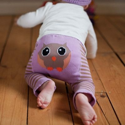 Baby Owl Leggings in Chocolate and Lilac Stripe | Blade and Rose | Sprogs Inc