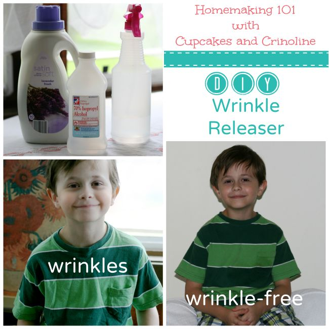 DIY wrinkle release spray 8ounces distilled or bottled water, 1 teaspoon rubbing alcohol,1 teaspoon fabric softener.