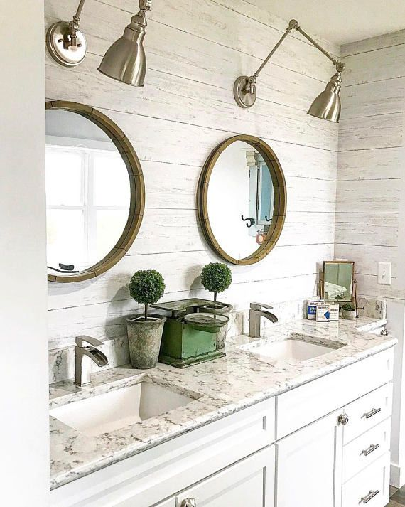 Shiplap Reclaimed Wood Peel And Stick Farmhouse Wallpaper Etsy Farmhouse Wallpaper Bathroom Wallpaper Wood Feature Wall