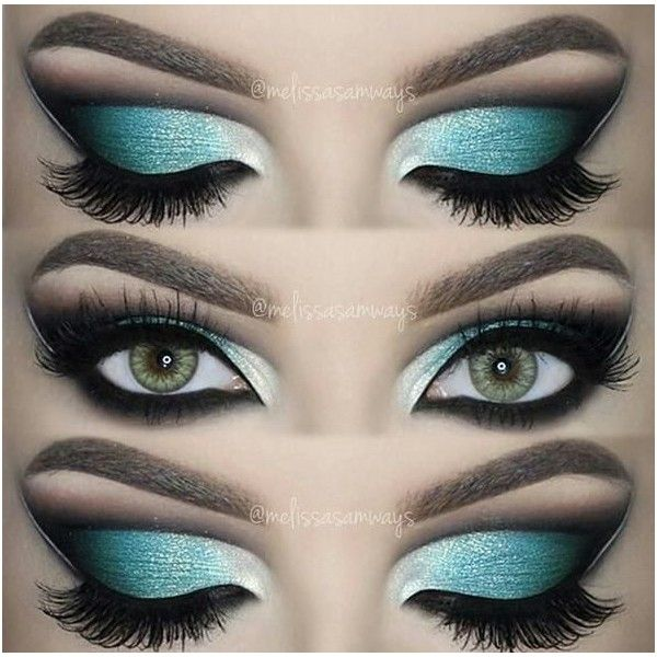 Dramatic Aqua Blue Cut Crease! | Make-Up (Blue-Eyes) Hair & Body |... ❤ liked on Polyvore featuring beauty products