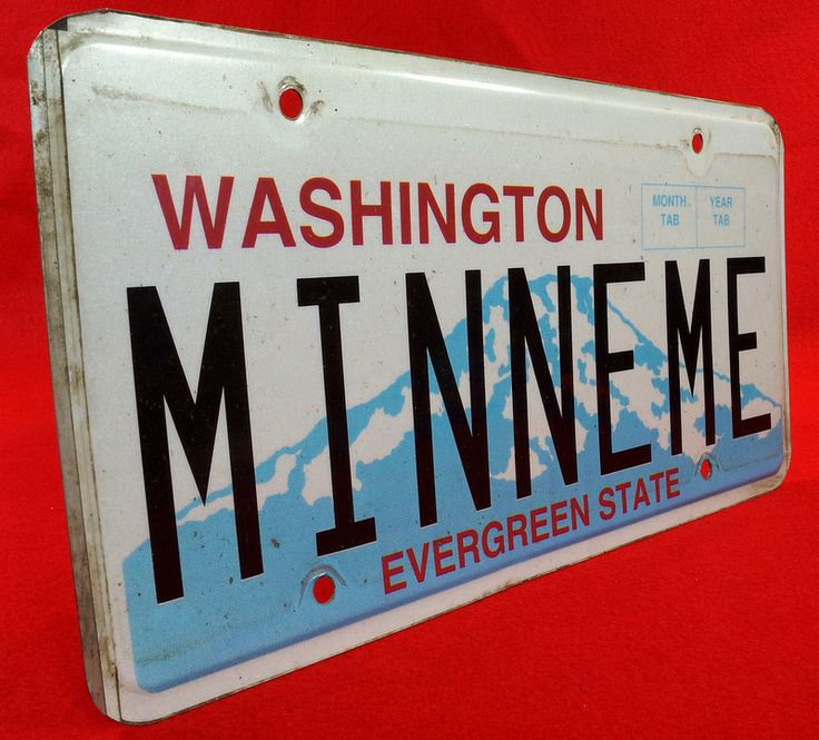 MINNEME Washington Evergreen State Custom License Plate - Mini Cooper To see the Price and Detailed Description you can find this item in our Category Vintage Auto, Gas & Oil on eBay: http://stores.ebay.com/tincanalley1/Vintage-Auto-Gas-Oil-/_i.html?_fsub=19469213018  RD16574