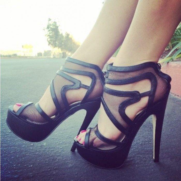 Swirly Girl Strappy Mesh Platforms | Black strappy high heels sandals,strappy heels, platform heels.