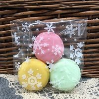 free shipping 50 pcs/lot 10x10cm snowflakes packaging transparent self-adhesive cookie bags biscuits bags