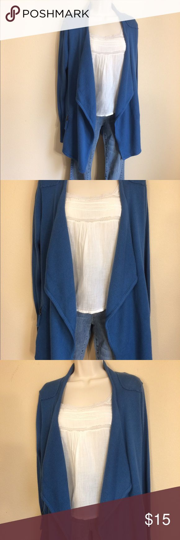 NY Collection Blue Open Cardigan NWOT Brand-new NY collection blue cardigan women's size small in perfect condition. Has zipper pockets on each side. Drapes longer in the front. Let me know if you have any questions. I am happy to help. Thanks for looking! NY Collection Sweaters Cardigans