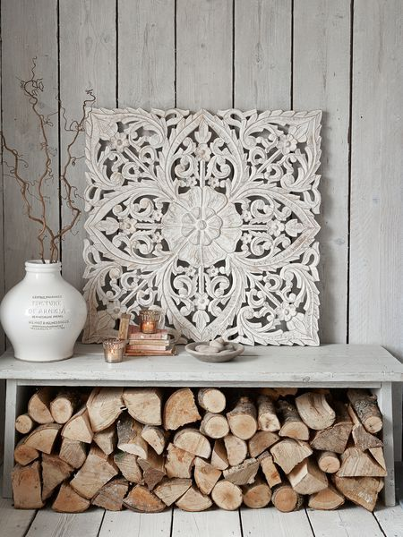 There is no end to the ways in which you can use these intricately carved wooden wall panels to add pattern and texture to your home.