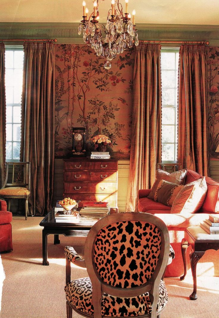 Pink Hand Painted Chinoiserie Paper, Long Silk Drapes, Contrast Painted  (green) Crown Moulding, And Leopard Used As A Neutral On That Louis XVI  Chair.