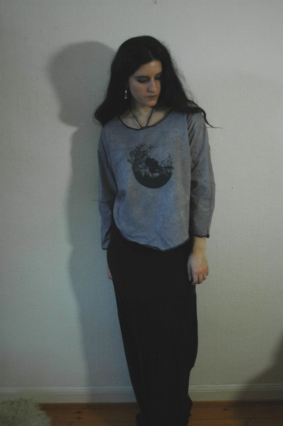 HÄXSABBAT // 3/4 sleeve Large Grey Top  nn x Old Hag by raintower, $53.00