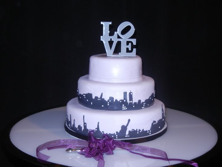 LOVE New York skyline wedding cake on Cake Central