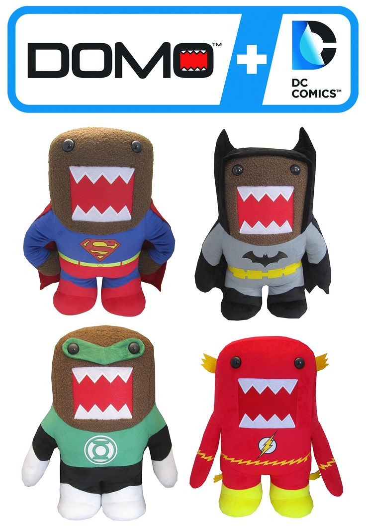 DOMO X DC COMICS – Funko (https://funko.com) & WBCP (https://www.warnerbros.com) created the Domo X DC (http://www.dccomics.com) line. The iconic Japanese meme dons the superhero uniforms of Batman, Superman, The Green Lantern, The Flash & other popular DC Comics superheroes. Domo, (どーも くん Dōmo-kun) the official mascot of Japan's public broadcaster NHK, is a brown, furry & oviparous monster with a large, sawtoothed mouth that is locked wide open. https://en.wikipedia.org/wiki/Domo_(NHK)