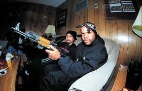 "Rapper/Actor Ice Cube posing with an AK-47. Ice Cube is  known to be gang affiliated and is also a practicing Muslim. In 2003  Ice Cube along with his group ""Westside Connection"" released  their 2nd studio album titled ""Terrorist Threats""."