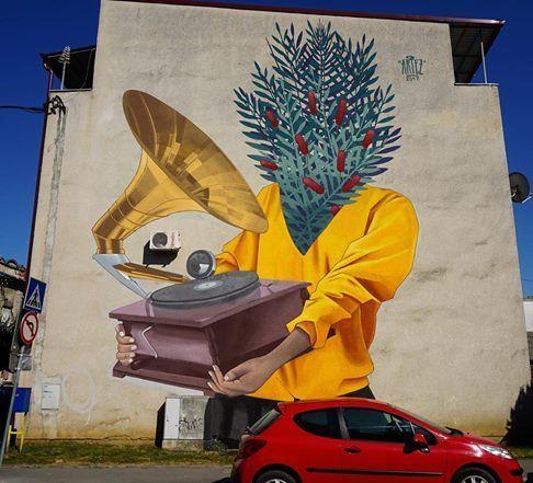 """street art Artez, """"Enjoy the music"""" in Bjelovar, Croatia,"""