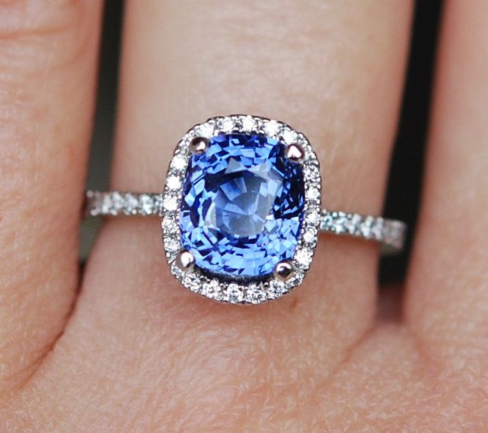GIA Sapphire Engagement Ring 18k White Gold 3.1ct Unheated Blue Cushion Sapphire…