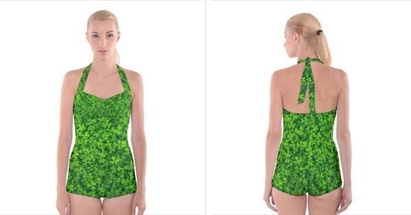 #Shamrock Clovers Green #Irish St  Patrick Ireland Good Luck Symbol 8000 Sv #Boyleg #Halter #Swimsuit