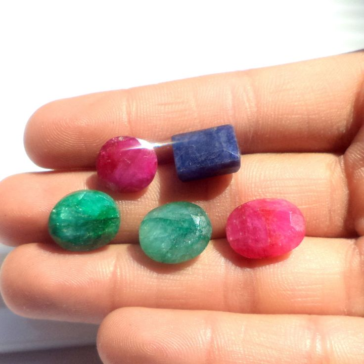 24 Ct NATURAL FANCY CUT RUBY PLUS SAPPHIRE MIX LOT RING SIZE LOOSE GEMSTONE S958