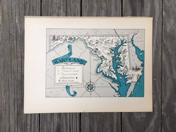 Maryland Map Art / MD State Wall Decor / 1930s Vintage Map / Quinn State Map Wall Art / Old Map Illustration / Travel Wall Map by HildaLea on Etsy