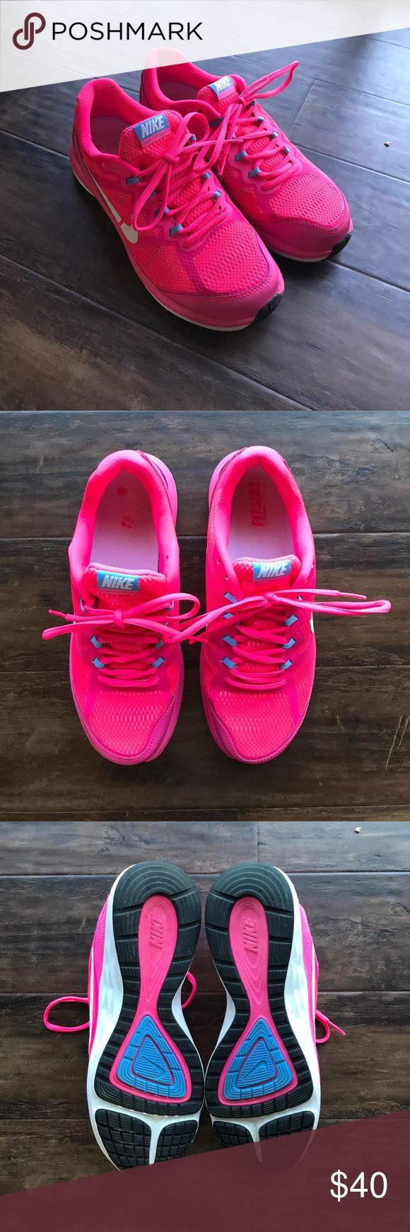 Nike Dual Fusion Run 3 Hot Pink Running Shoes Nike Dual Fusion Run 3 Hot Pink Women's Running Shoes. Size 8.5. Minor wear in the inside. Perfect condition otherwise. Worn once. Nike Shoes Athletic Shoes