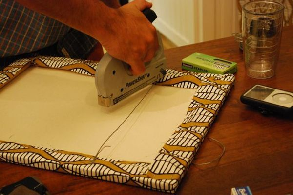 wrapping canvas with fabric