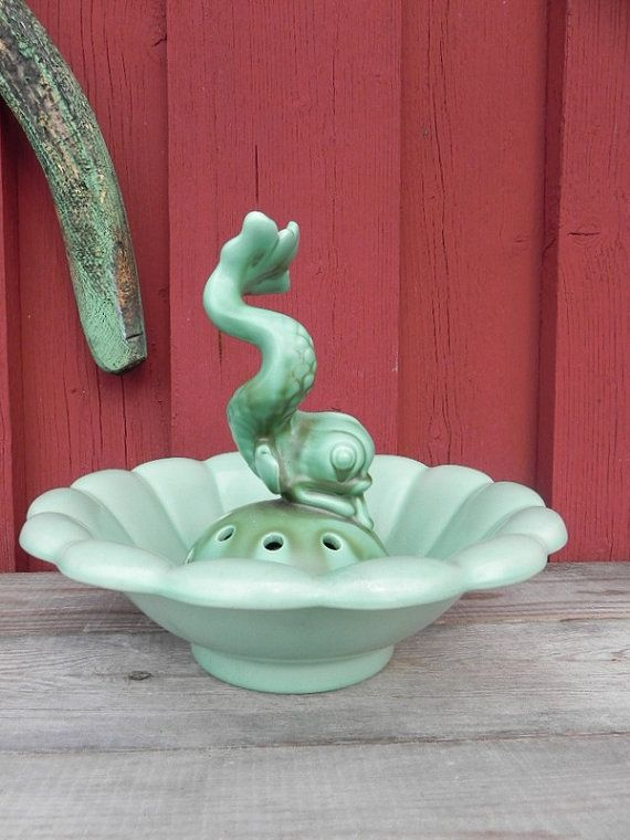 Arthur Percy Gefle green ceramic flower frog by beautifulsweden
