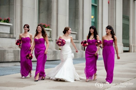 Wedding Sweetchic Events Dayna Schroeder Magenta Bridesmaids Dresses Lighthearted Pinterest Bridesmaid And