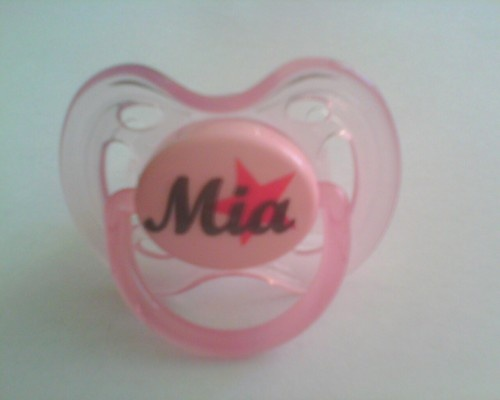 Clear, Pink or Blue Avent Dummy With Star And Name
