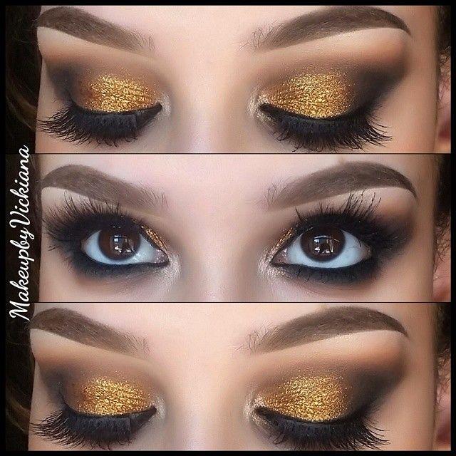 "#ShareIG ✨ @anastasiabeverlyhills brow wiz in soft brown and caramel, caramel brow gel and 1.5 concealer browbone: @toofaced satin sheets/ crease: @maccosmetics soft brown, saddle/ outer v: mac saddle, brun,  @urbandecaycosmetics blackout/ lid: @makeupgeektv glamorous @stilacosmetics magnificent metal ""comex gold"" on top/ inner corner: @stilacosmetics kitten @velourlashesofficial girl you crazy @makeupgeektv immortal gel liner"