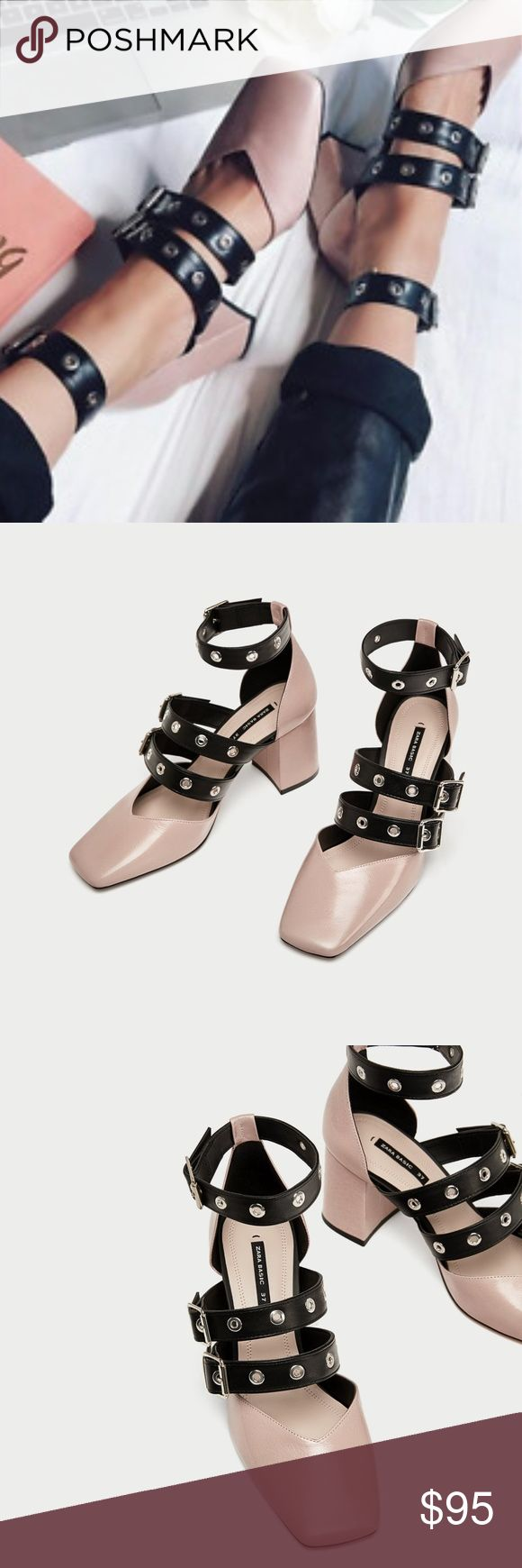 Zara High Heel Leather Court Shoes with Buckles Gorgeous Zara Two Toned leather court shoes with buckles & block heels, Brand new with tags & box! d  Pink leather high heel shoes. Featuring contrasting-coloured buckled straps on the instep and ankle and squared toes.  Heel height of 7,5 cm. / 2.9″ Zara Shoes Heels