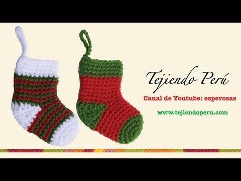 Medias o botitas navideñas en crochet - YouTube